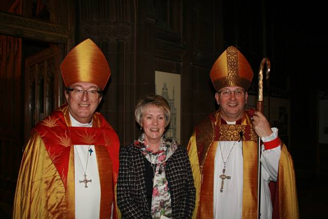 Catherine Hilton with Bishops Chris and Mark